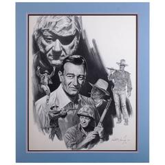 Kenneth Wenning Original Charcoal Drawing with Images of John Wayne