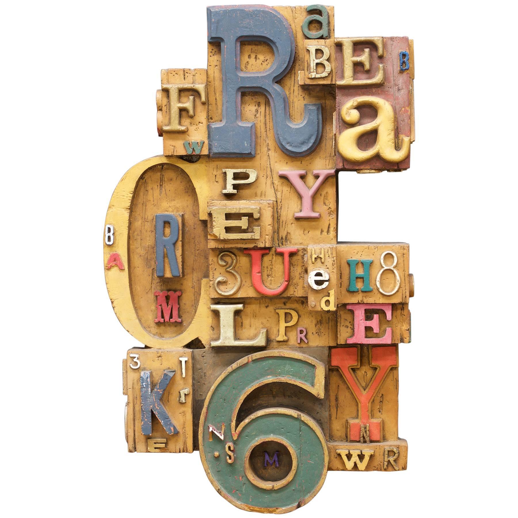 1960s Vintage Brutalist Typeface Typesetter 3D Painted Wall Art Sculpture