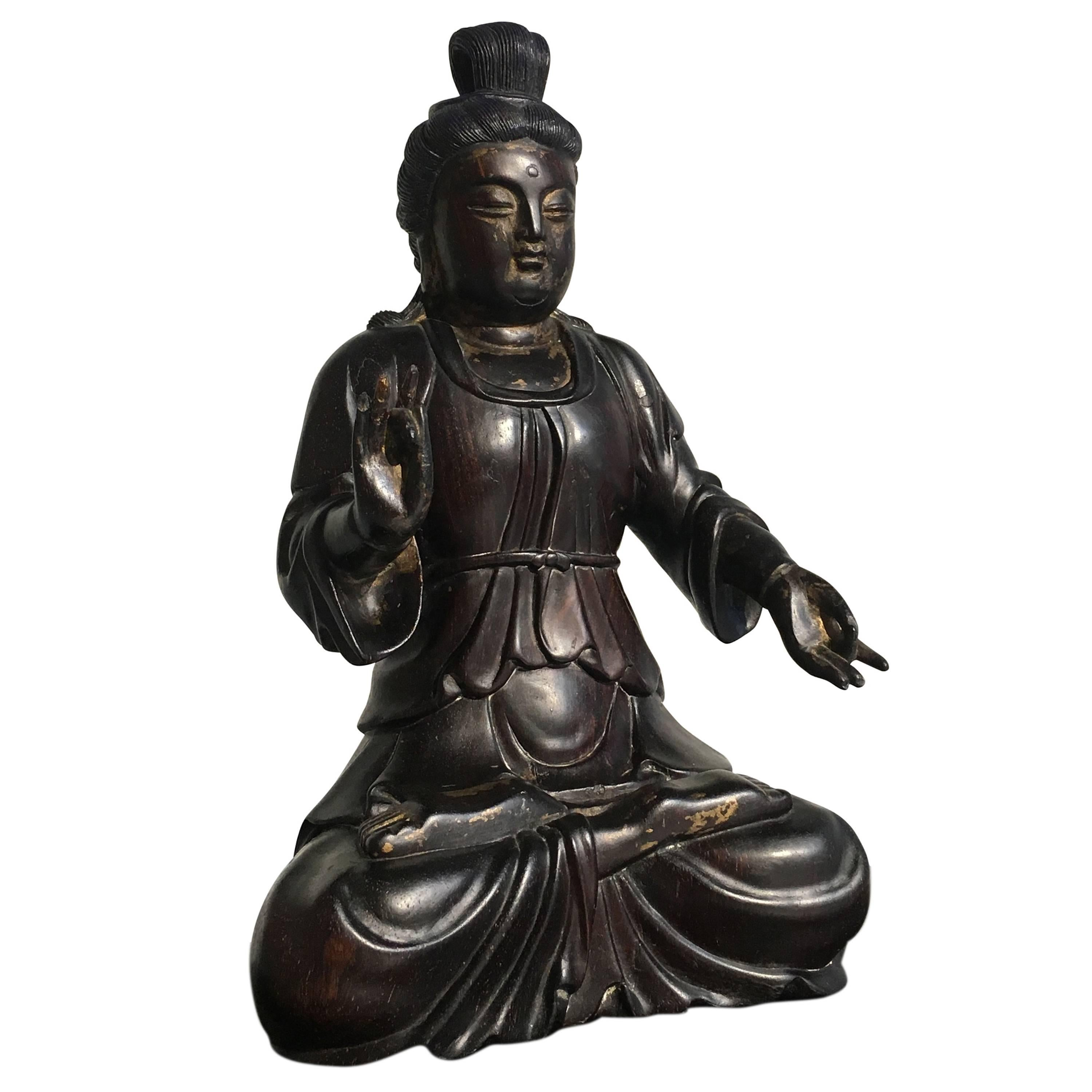 Chinese Carved Zitan Figure of a Bodhisattva, Qing Dynasty