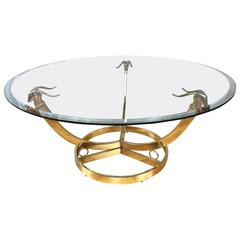 Hollywood Regency Style Brass and Glass Gazelle Head Cocktail Table