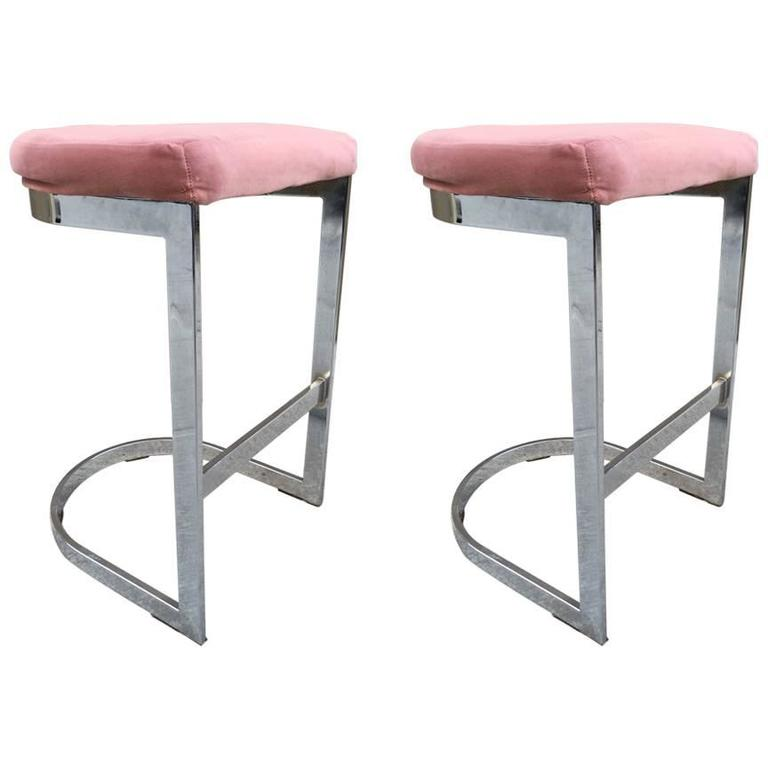 Pair of DIA Flat Bar Chrome Stools