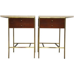 Paul McCobb Brass Base Nightstands with Travertine Tops