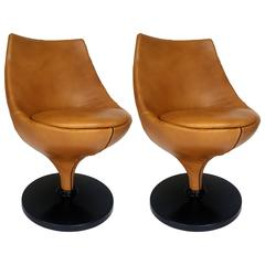 Pair of Pierre Guariche Swivel Chairs in Fine Leather
