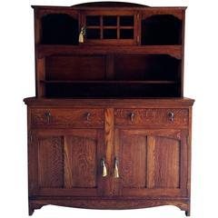 Antique Welsh Dresser Solid Oak Art Nouveau, Early 20th Century