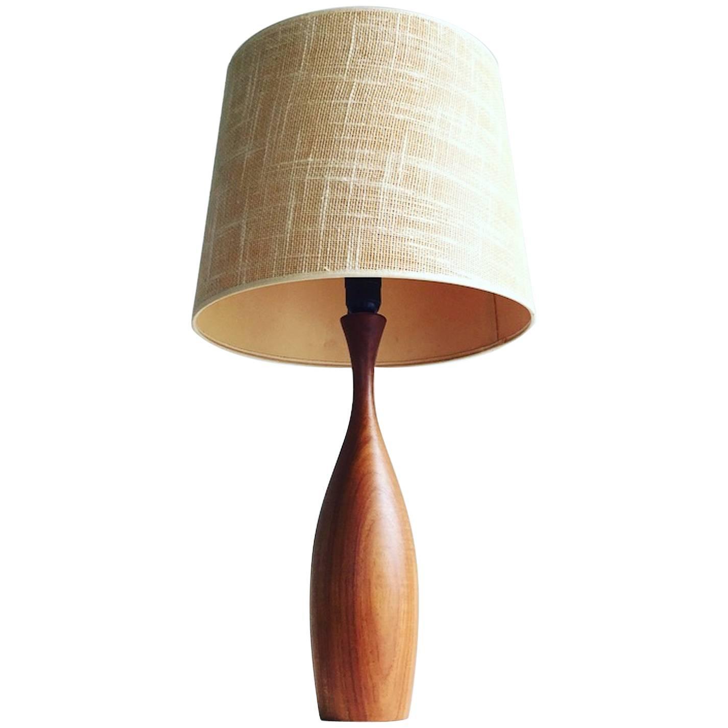 Jute Ceiling Lamp Shade: Mid-Century Danish Teak Table Lamp With Original Jute