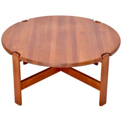 Danish Mid-Century Modern circular coffee table in solid Teak by Niels Bach