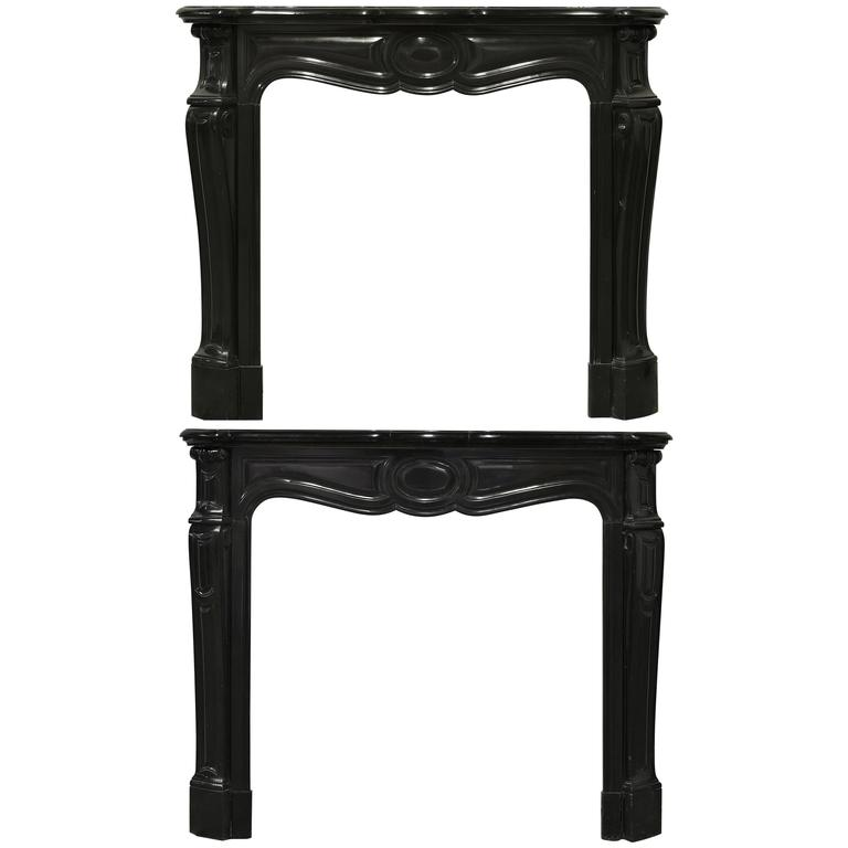 Pair of Marble Antique French Pompadour Style Fireplace Mantels