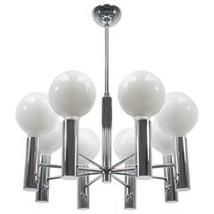Mid-Century Italian Chrome Chandelier in the Manner of Sciolari
