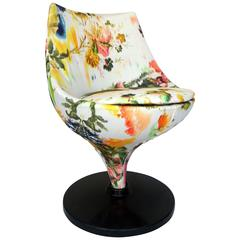 Pierre Guariche Swivel Chair Upholstered in Christian Lacroix