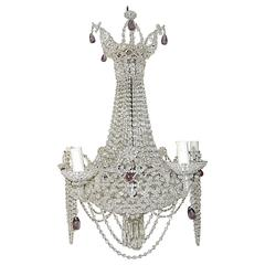Italian Beaded Basket Amethyst Drops Chandelier