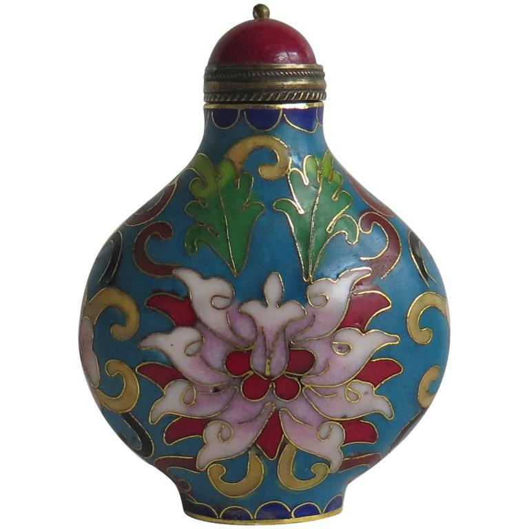 Cloisonné Chinese Snuff Bottle Hand Enameled Red Stone Stopper, circa 1930