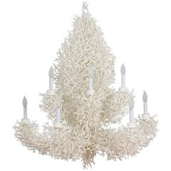 Large White Faux Coral Chandelier
