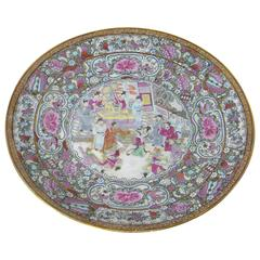 Antique Chinese Export Porcelain Rose Medallion Platter