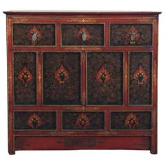 Tibetan Polychrome Cabinet with Drawers