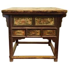 19th Century Chinese Square Kitchen Table, Walnut, Hand-Painted, Lotus Motif