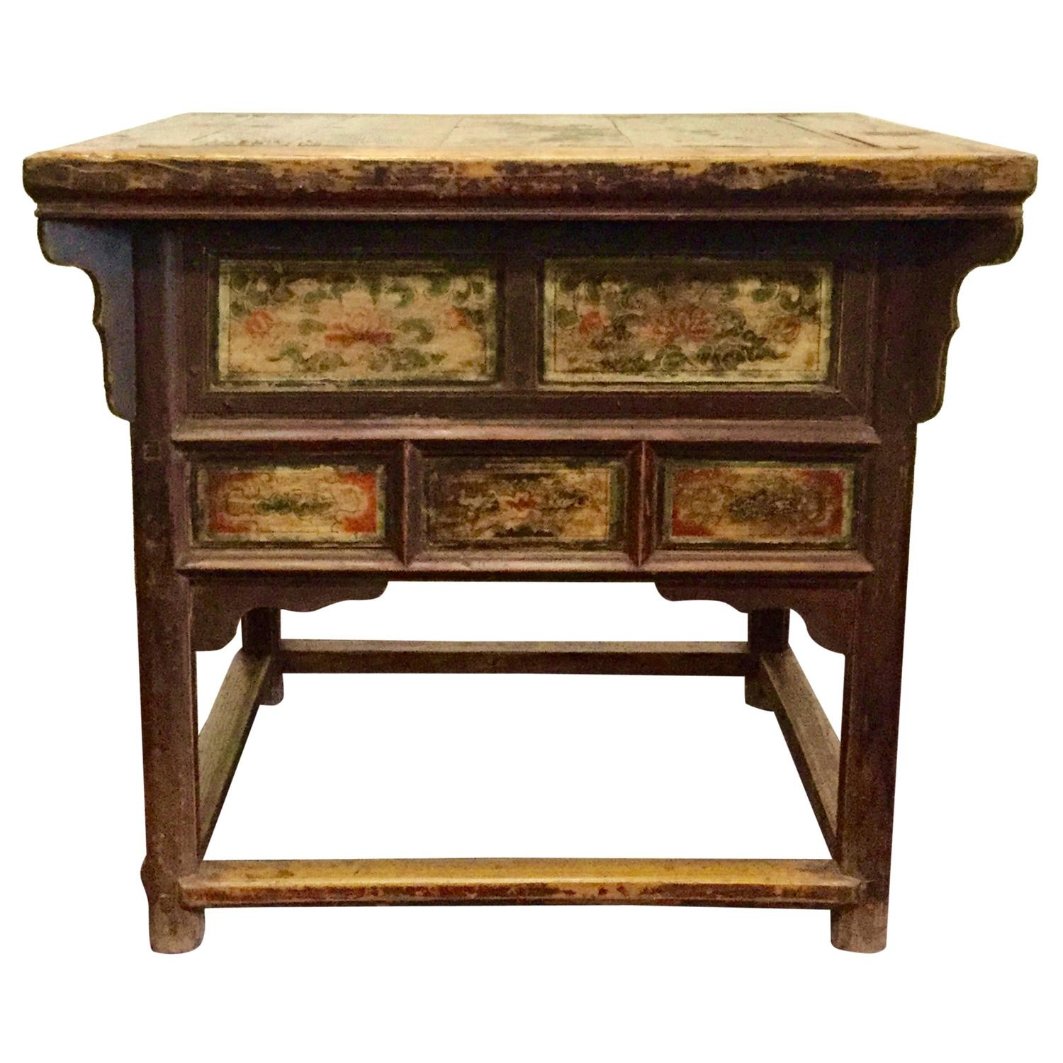 Number 1 Chinese Kitchen: 19th Century Chinese Square Kitchen Table, Walnut, Hand