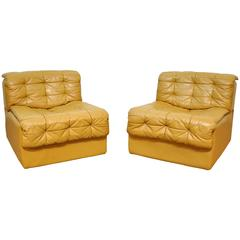 Pair of De Sede DS-11 Caramel Leather Lounge Chairs