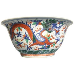 Large Chinese Qing Dynasty Wucai Porcelain Dragon Bowl, 19th Century
