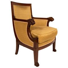French Mahogany Bergere, Époque Consulat, Early Empire Period, circa 1799-1804