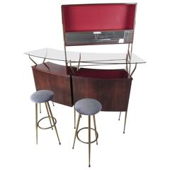 Italian Modern Dry Bar With Cabinet in the Style of Gio Ponti