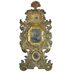 Large Spanish Rococo 19th Century Brass Mirror