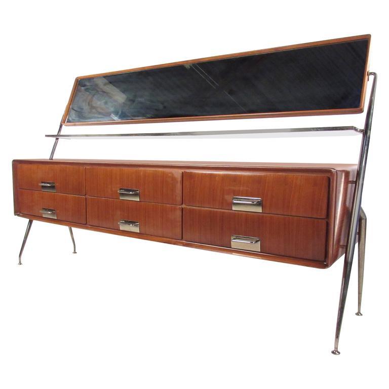 Italian Bedroom Dresser with Vanity Mirror by Silvio Cavatorta