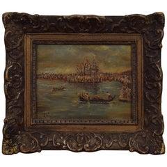Oil on Board, Venetian Canal Scene in a Regence Style Frame