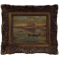 Oil on Board, Venetian Canal Scene in a Regence Style Frame