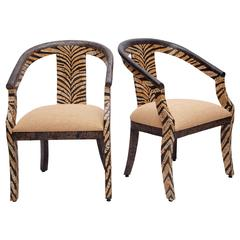 Pair of Tiger-Striped Armchairs in Coconut Shell Inlay