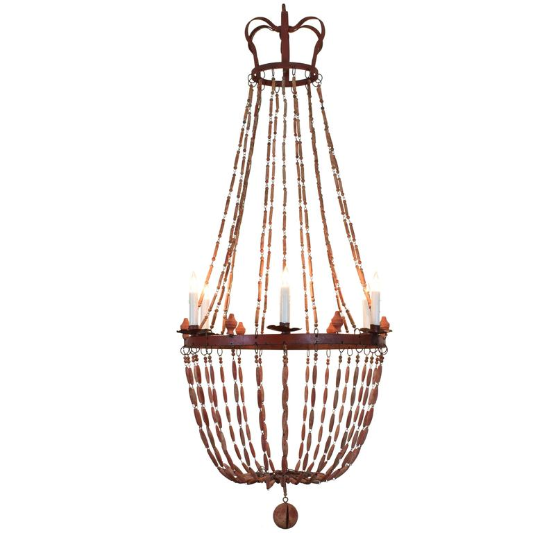 Italian Painted Wood and Iron Six-Light Empire Style Chandelier 1