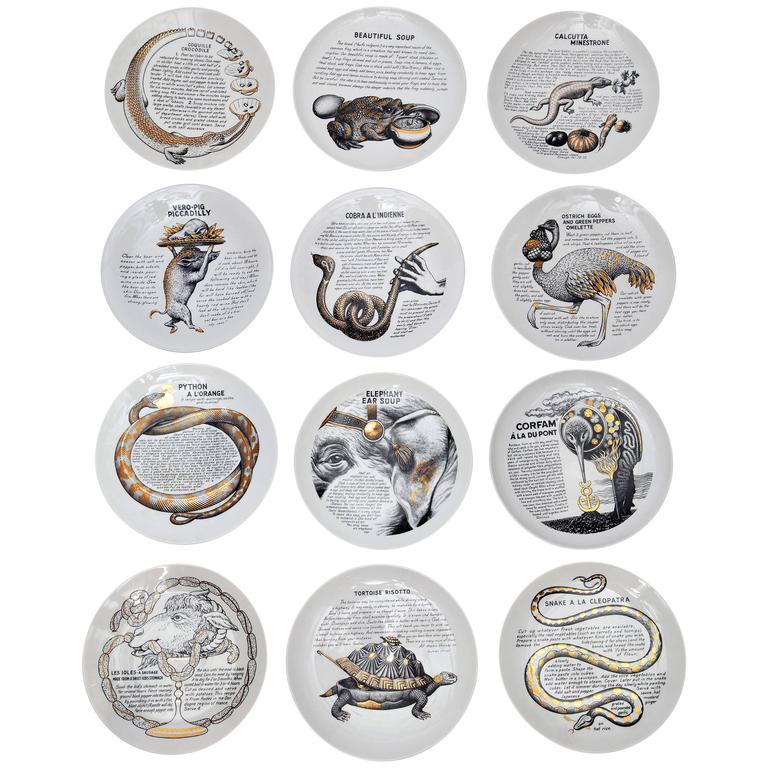 Set of 12 Custom Commissioned Plates by Piero Fornasetti for Fleming Joffe Ltd