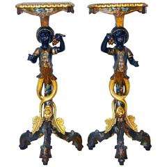 Pair of 19th Century Carved Venetian Polychrome Paint and Gilt Blackamoor Stands