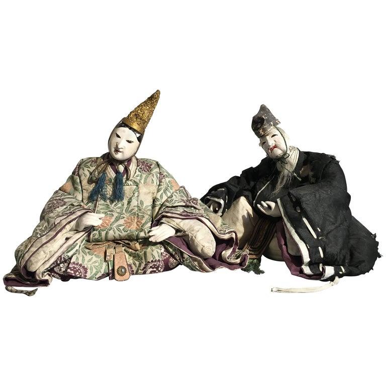 Pair of Japanese Edo Period Musha Ningyo Courtier Dolls For Sale