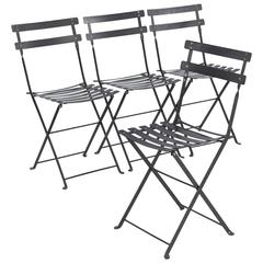 Set of Four French Folding Bistro Metal Side Chairs by Fermob, Late 1900s