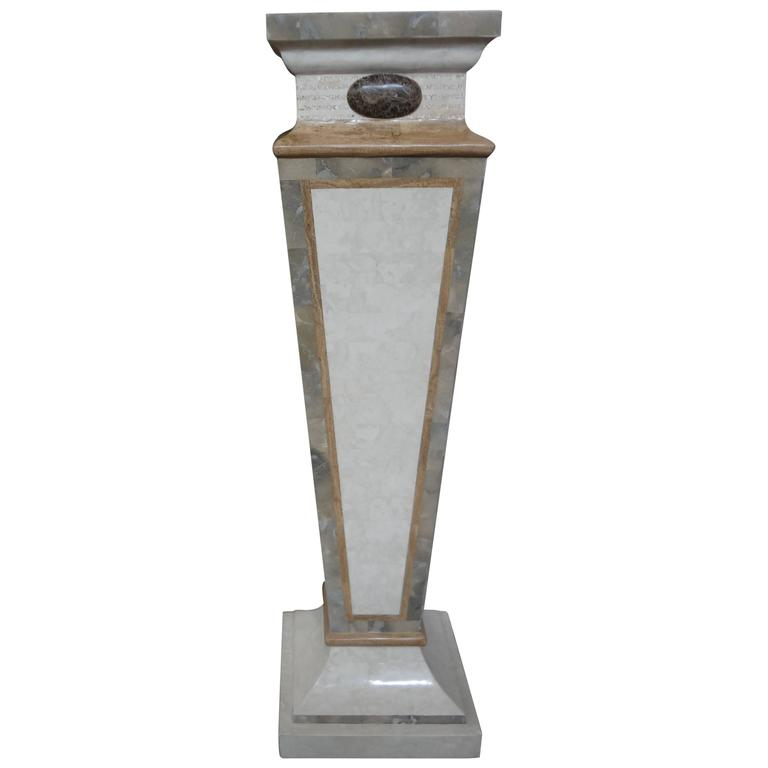 Tessellated Travertine And Marble Geometric Pedestal For