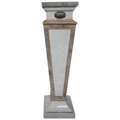 Tessellated Travertine and Marble Geometric Pedestal