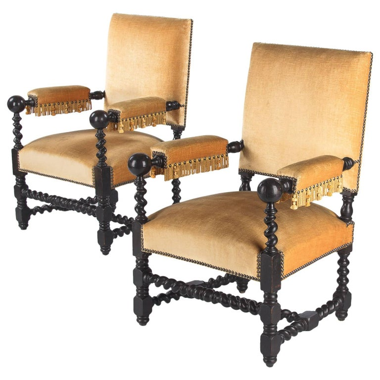 Pair of Louis XIII Style Ebonized Wood Armchairs, 1870s For Sale