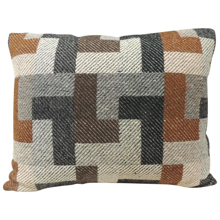 Vintage Mid Century Modern Pattern Alpaca Woven Pillow At