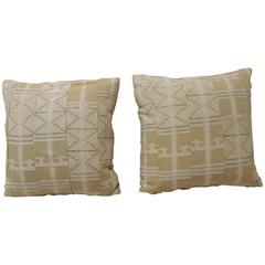 Pair of 1940s African Woven Textiles Decorative Pillows