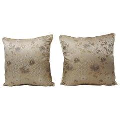 Pair of Asian Floral Japanese Silk Obi Textile Decorative Pillows