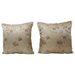 Pair of Asian Floral Japanese Silk Obi Textile Decorative Pillows