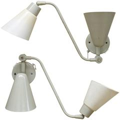 Kurt Versen Double Cone Fiberglass Wall Sconce Reading Lamps, Pair