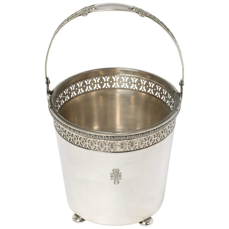 Sterling Silver Ice Bucket with Glass Liner