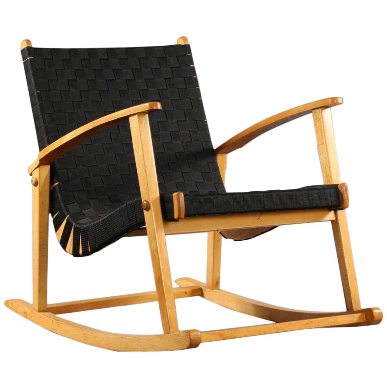 comfortable rocking chair attributed to jens risom 1950. Black Bedroom Furniture Sets. Home Design Ideas