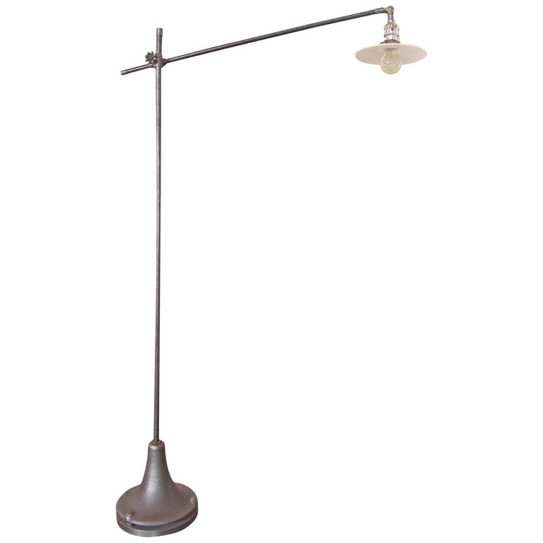 Floor Task Light Milk Glass Adjustable Reading Lamp Vintage Industrial Cast Iron