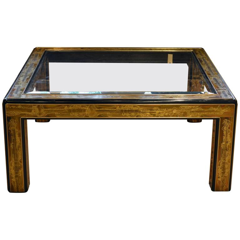 Thick Square Black Stone Top Coffee Table With Short Black: Mid-Century Modern Glass Top Coffee Table By Bernard Rohne