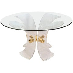 Lys Lucite and Golden Steel Dining Table