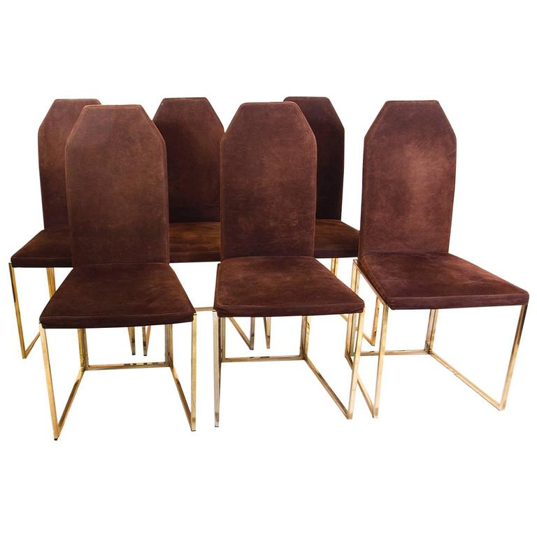 six golden lacquered steel and suede chairs by belgo