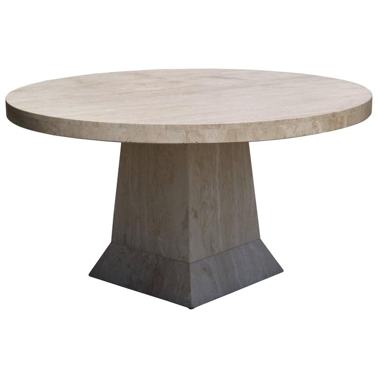 Large Round Travertine Center Table For Sale