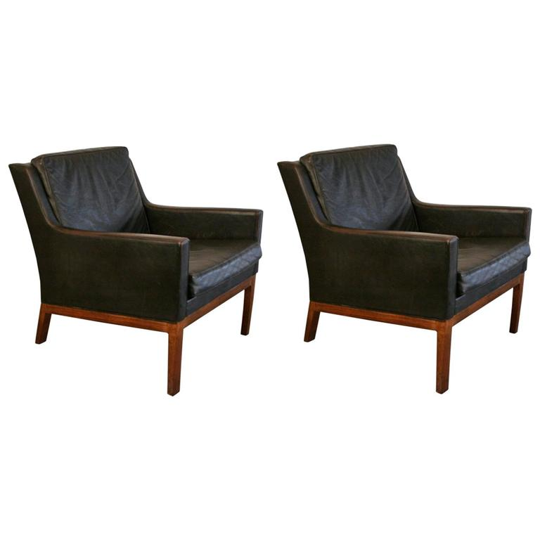 Danish Leather Armchair Pair Of Vintage Danish Leather Armchair At 1stdibs